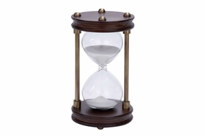 Wood Metal Glass Sand Timer With Artistically Carved Round Shape Base - 53400 by Benzara