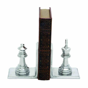 Metal Bookend Pair With Broad Stable Base - 28361 by Benzara