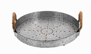 Galvanized Rope Tray Designed with Great Finesse - 93701 by Benzara