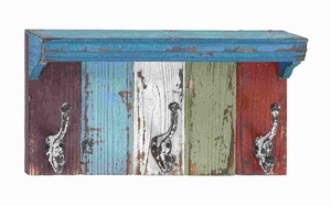 Wood Metal Wall Hook With Assortment Of Vibrant Colors - 55457 by Benzara