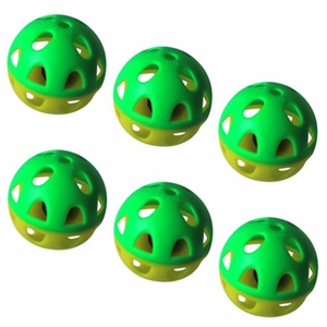 6 Pack Two-tone plastic ball with bell - Yellow/Green Pattern - 6 Pieces
