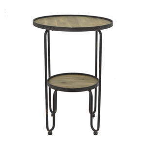 63487 Modish Metal Wood Accent Table Set Of 2