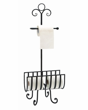 Metal Toilet Paper Holder Affordable Bath Accent 13 Inches Wide - 66015 By Benzara