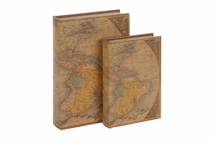 WOOD LEATHER BOOK S/2 A SET OF TWO - 66966 by Benzara