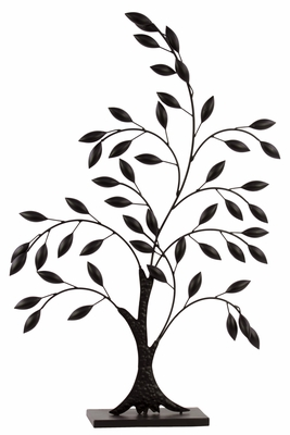 67015 Metal Olive Tree Decor - Black