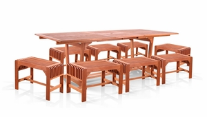 V232SET30 7-Piece Dining Set with Extension Table and Backless Benches by Vifah