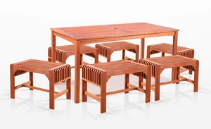 7-Piece Dining Set with Rectangular Table and Backless Benches by Vifah