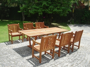 7-Piece English Garden Dining Set 2 with Rectangular Extension Table by Vifah