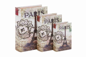 WOOD LEATHER BOOK BOX S/3 WITH PRINT OF ?PARIS? - 72193 by Benzara