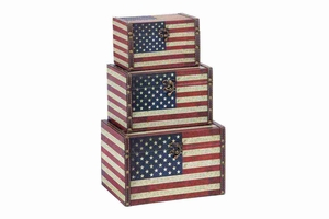 WOOD LEATHER BOX S/3 WITH US FLAG COLORS - 72196 by Benzara