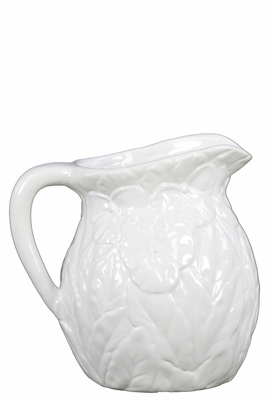 73145 Ceramic Pitcher with Flower Relief and Handle - White