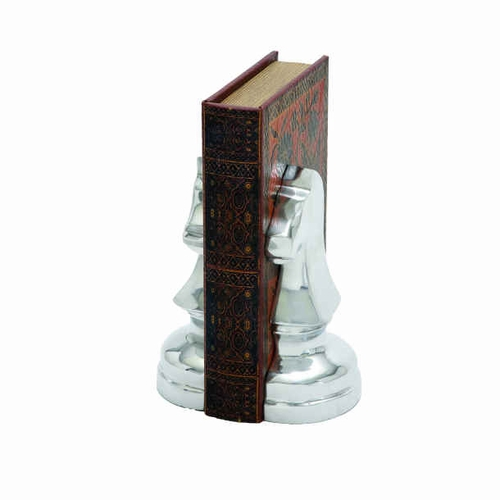 Benzara 28363 8 h aluminium bookend with sturdy design and stable base at - Sturdy bookends ...
