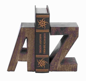 Wood Book End Pair With Wood Grain Design - 14412 by Benzara