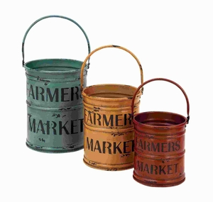 Basket With A Rich Bold Finish Of Colors - Set Of 3 - 54429 by Benzara
