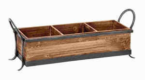 Wood Metal Tray With Three Spacious Partitions - 54419 by Benzara