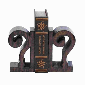 Unique Design Wood Book End Pair In Rich Brown Finish - 14414 by Benzara