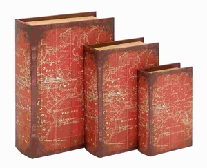 "8"" H Wood Book Box With A Detailed World Map (Set Of 3) - 54187 by Benzara"