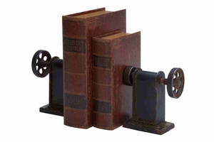 METAL BOOKENDS PAIR EXHIBITS PASSION FOR BOOKS - 80973 by Benzara