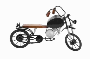 Metal Wood Motorcycle Elaborate and Realistic Details - 46692 by Benzara
