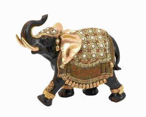 Polystone Elephant with Intricate Detailing and Carvings - 69476 by Benzara