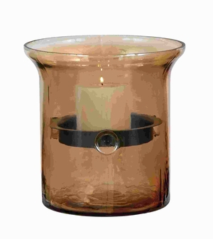 Glass Metal Candle Holder With Smoky Glass Outer Case - 34686 by Benzara