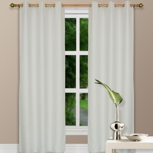 "96"" Ivory Grommet Top Thermal Curtain w/ Blackout Drape & Polyester Fabric"