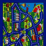 Abbey Contemporary Kids Area Rug Street Map Blue with non Slipping Gel Back