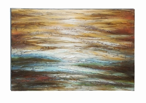 Textured Painting Of Vivid Lines And Waves - 53693 by Benzara