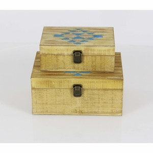 Addison Wood Box With Inlay Work, Set Of 2 - 84304 by Benzara