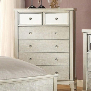 Adeline Contemporary Style Chest With Crystal Knobs, Silver