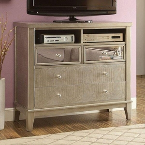 Adeline Contemporary Style Media Chest With Crystal Knobs, Silver