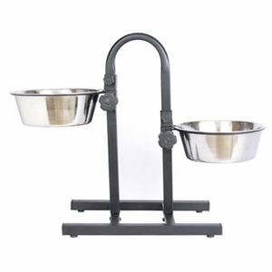 Adjustable S. Steel Pet Double Diner for Dog (U Design) - 3 Qt - 96 oz - 12 cup