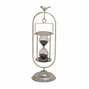 Admirable Metal Glass Min Silver Hourglass - 97755 by Benzara