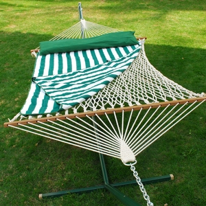 Adorable 13' Cotton Rope Hammock w/ Hanging Hardware, Pad, and Pillow