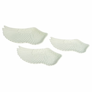 Adorable Ceramic Wing Plate Set of Three by Benzara