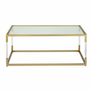 Adorable Metal Glass Acrylic Coffee Table by Benzara