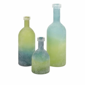 IMAX Adorable Alena Green and Blue Glass Bottles (Set of 3)