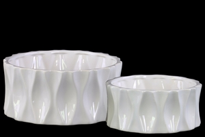 Aesthetic Dimpled Round Pot Set of Two-White- Benzara