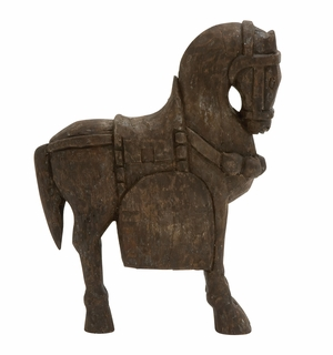 Aesthetic Wood Carved Horse - 20819 by Benzara