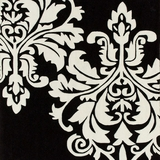 Agape Contemporary Area Rug Black Backgroung White Floral Print