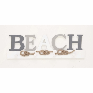 Alluring Beach Sign Wall Hook, White And Gray - 98865 by Benzara