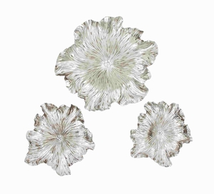 Set of 3 Silver floral wall plaque - 76215 by Benzara
