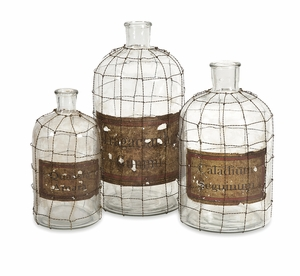 Alluring Dimora Wire Caged Bottles - Set of 3