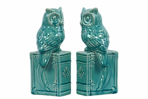 Alluring Fancy Ceramic Owl Bookend Turquoise