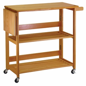 Winsome Wood Alluring Foldable Light Oak Foldable Open Kitchen Cart