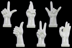 Alluring Hand Signal Sculpture on Base Assortment of 6- Large- White- Benzara
