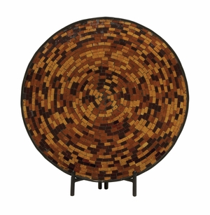 Alluring Metal Mosaic Platter With Easel - 24047 by Benzara