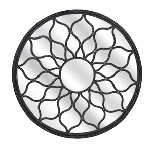 Alluring Round Shaped Maske Iron Mirror by IMAX