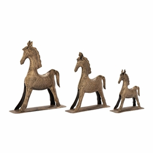 Alluring Set of Three Metal Gold Horses - 24321 by Benzara