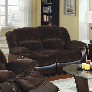 Alluring Winchester Transitional Style Loveseat, Brown